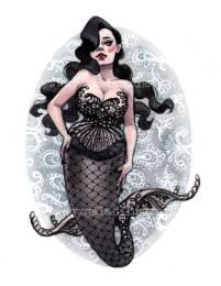 Pin Up Mermaid Black Lace