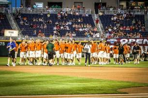 See anyone familiar? I got to walk onto the field with Texas during the CWS Opening Ceremonies.