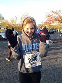 Sissy even supported Team USA while running the Trenton Half with her mittens from Sochi!