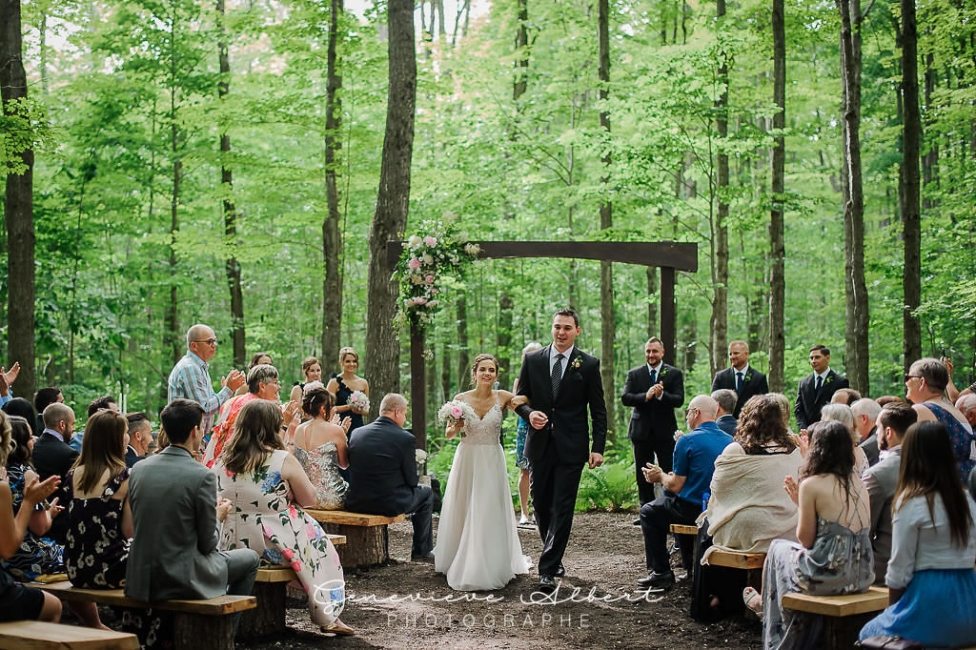 Wedding ceremony in beautiful forest setting