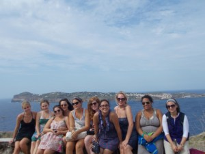 Group in front of Italian landscape