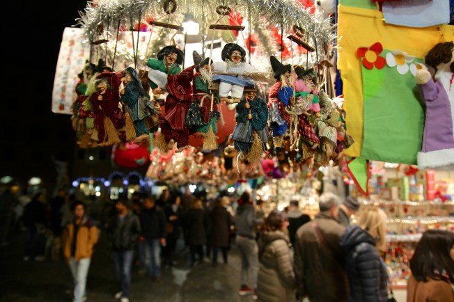 """In Italy the witch a.k.a """"Befana"""" is a tradition that occurs on Jan. 6th. Stockings are placed near a window and the Befana brings gifts to the good kids and coal for the bad kids."""