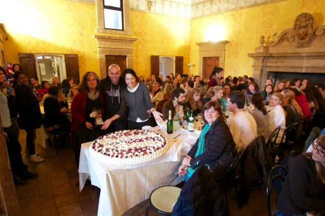 The new dean was surprised with a huge cake to celebrate her 1st semester at Temple Rome