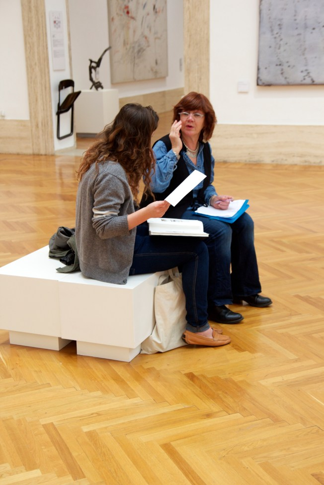 Student Teacher Conference during Sketchbook class at the Museum of Modern Art