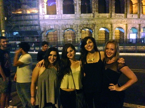 Girls in Rome at night
