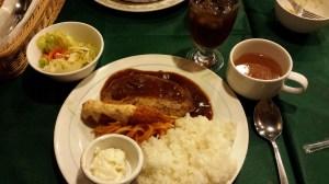 Hamburger Steak with spaghetti, shrimp tempura, potato salad, salad, and rice. A little taste of Italy, courtesy f Japan.