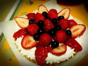She even made a mixed berry tart for dessert. It looks so perfect, I don't want to ruin it.
