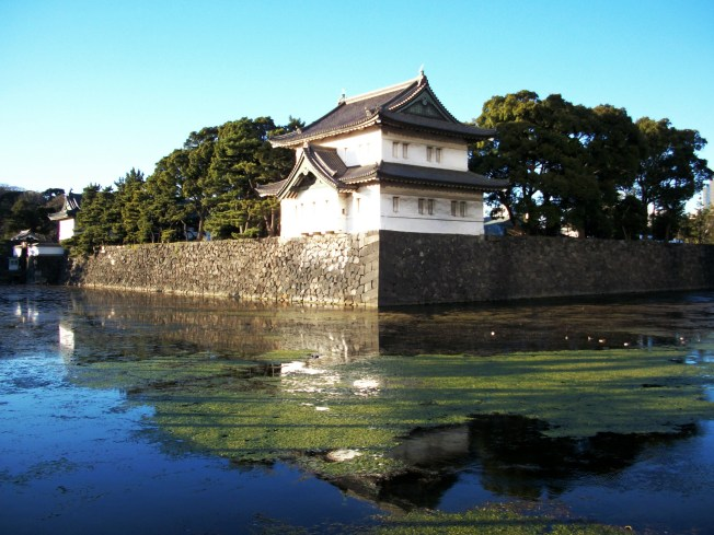 A view of a traditional building and the moat that surrounds the palace.