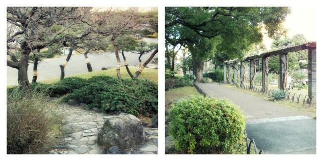 The archway and landscaping was beautiful, even though the day was shady and chilly. Notice the wrappings on the trees.