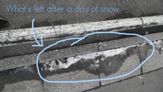 One day of snow -- which everyone was excited about throughout the day -- left remnants of its glittering goodness along curbs. Can't say that I miss snow too much though!