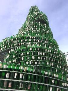 Arbol de la Sidra (tree of Sidra) - more than 3,000 bottles of sidra were recycled to create this tree in Gijon