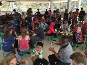 This was a typical meal for us in the Aini village - sharing great food with new friends.
