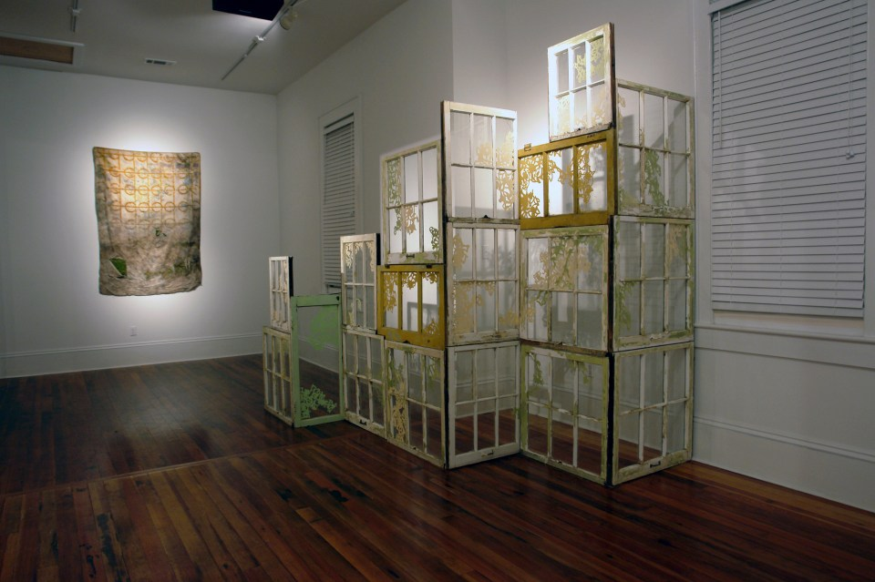 (un)dwelling installation view of Sheet Moss & Window Assemblage