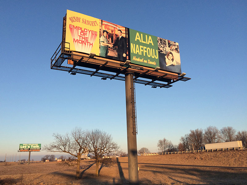"Ken Lum's ""Bindy Sangeet: Employee of the Month"" and ""Alia Naffouj: Hooked on Tennis,"" installed on the Main Billboard in Hatton, MO."