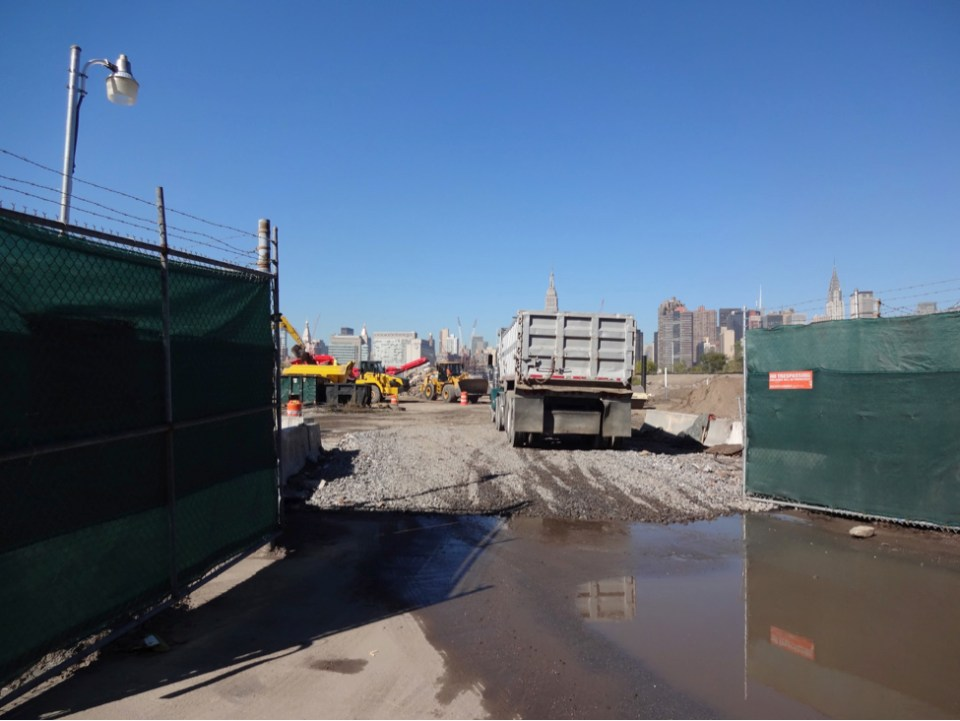 Truck entering the construction site, September 2015
