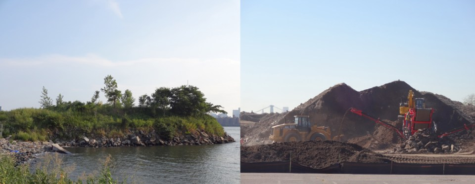 Left: Hunter's Point South, July 2015 Right: Construction underway in September 2015