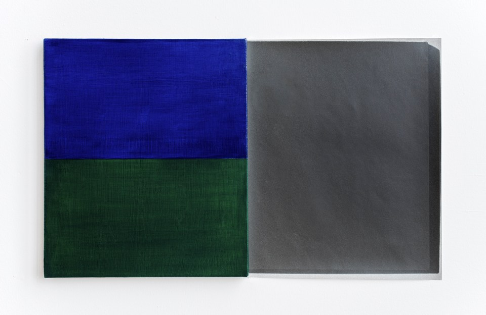 Blue / Green, from Blue Shift, 2015. Oil on linen painting and fiber-based silver gelatin prints, 14 x 24 in.