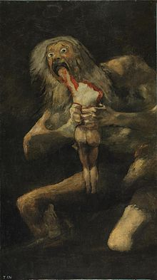 More details Saturn Devouring His Son, c. 1819–1823. Oil mural transferred to canvas, 143cm x 81cm. Museo del Prado, Madrid