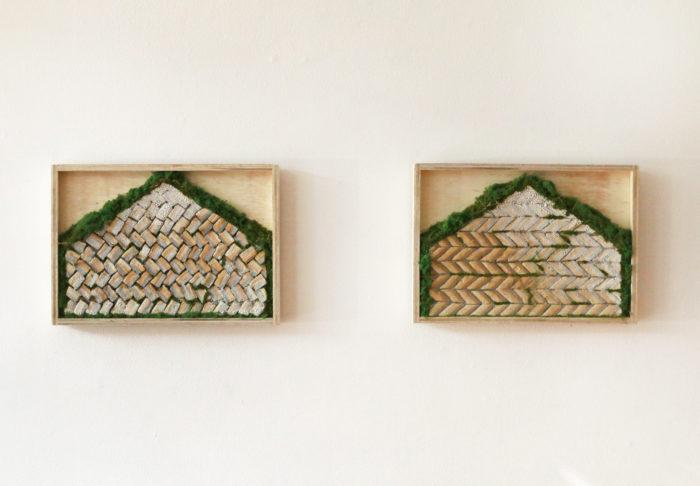 Torfbærinn I+II, 2016, glazed ceramics with model turf and grass