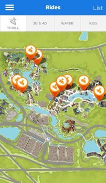 Universal Studios iOS mobile app interactive map of rides.