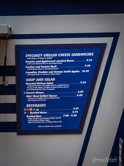 Grilled Cheese Sandwich Menu at EPCOT