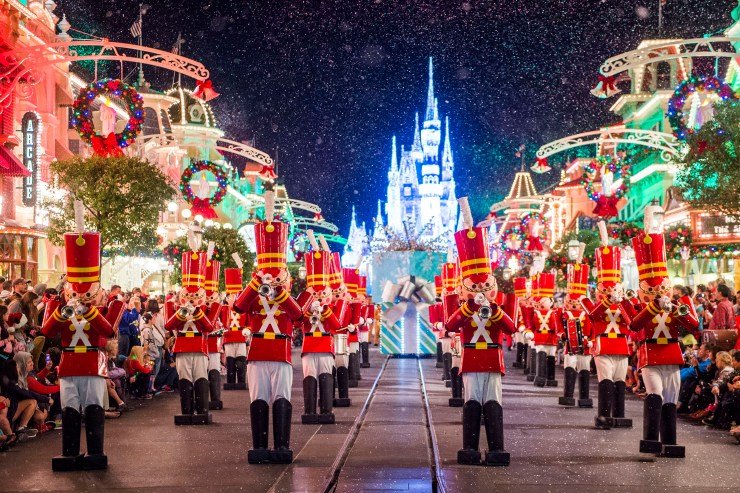 "Toy soldiers parade down Main Street, U.S.A., at Magic Kingdom during ""Mickey's Once Upon a Christmastime Parade."" The festive processional is one of the happy highlights of Mickey's Very Merry Christmas Party, a night of holiday splendor with lively stage shows, a unique holiday parade, Holiday Wishes: Celebrate the Spirit of the Season nighttime fireworks, and snow flurries on Main Street, U.S.A. The special-ticket event takes place on select nights in November and December in Magic Kingdom at Walt Disney World Resort in Lake Buena Vista, Fla. (Ryan Wendler, photographer)"