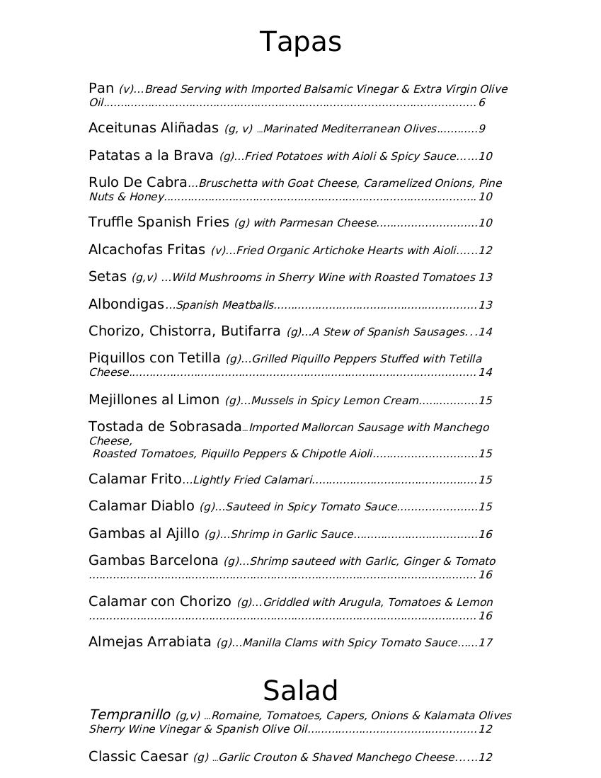 tempranillo menu