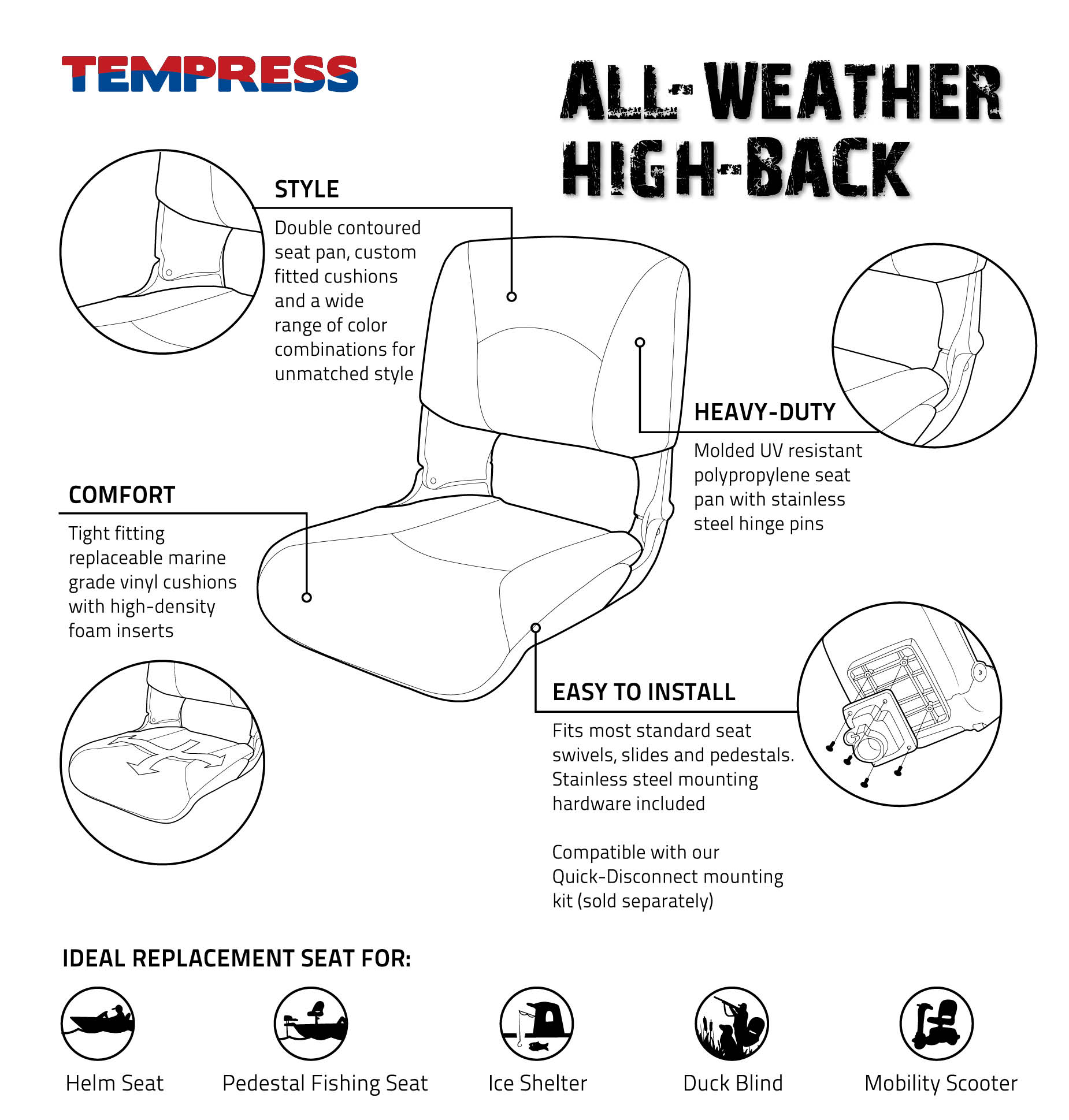 Tempress All Weather High Back Key Points