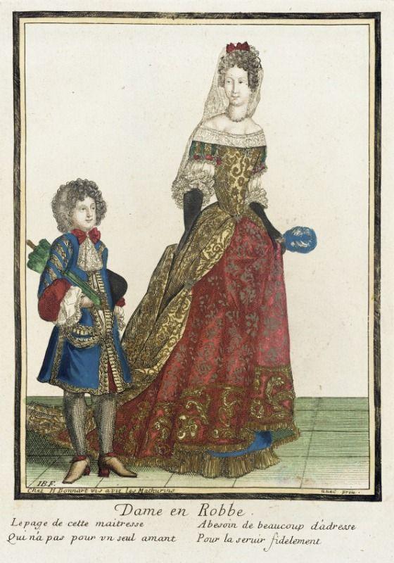 Voilà, on est en 1683 et tout est déjà là : jupe, queue et corps baleiné décoré aux manches garnies de dentelle.