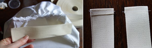 15/ Préparez un petit bout de ruban de sergé en repliant les bords et en les cousant (comme à gauche sur l'image : au final il doit faire la longueur exacte du haut du panier. || Prepare a small strip of twill ribbon : fold the sides and sew them like en the left part on the image : at the end it must be exactly the same length of the pannier's top.