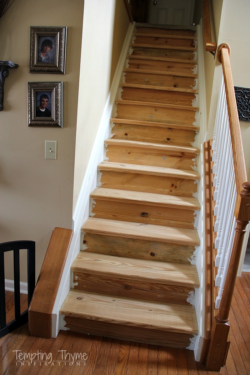 Stair Project Begins Removing The Carpet And Prepping The Wood   Refinishing Builder Grade Stairs   Diy   Basement Stairs   Staircase Makeover   Flooring   Carpeted Stairs