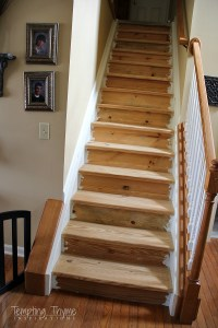 Staining Pine Stair Treads | tempting thyme