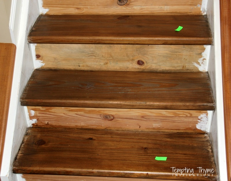 Staining Pine Stair Treads Tempting Thyme | Unfinished Pine Stair Tread | Wood | Stair Parts | Red Oak Stair | Stair Railing | Basement Stairs
