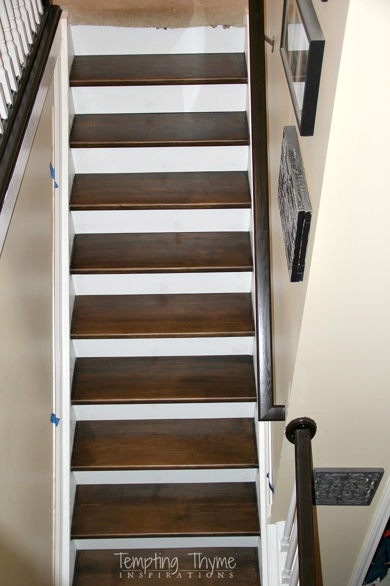 Heading On Up Installing New Stair Risers Tempting Thyme | Best Wood For Stair Stringers | Primer | Stair Railing | Deck | Porch | Deck Stairs