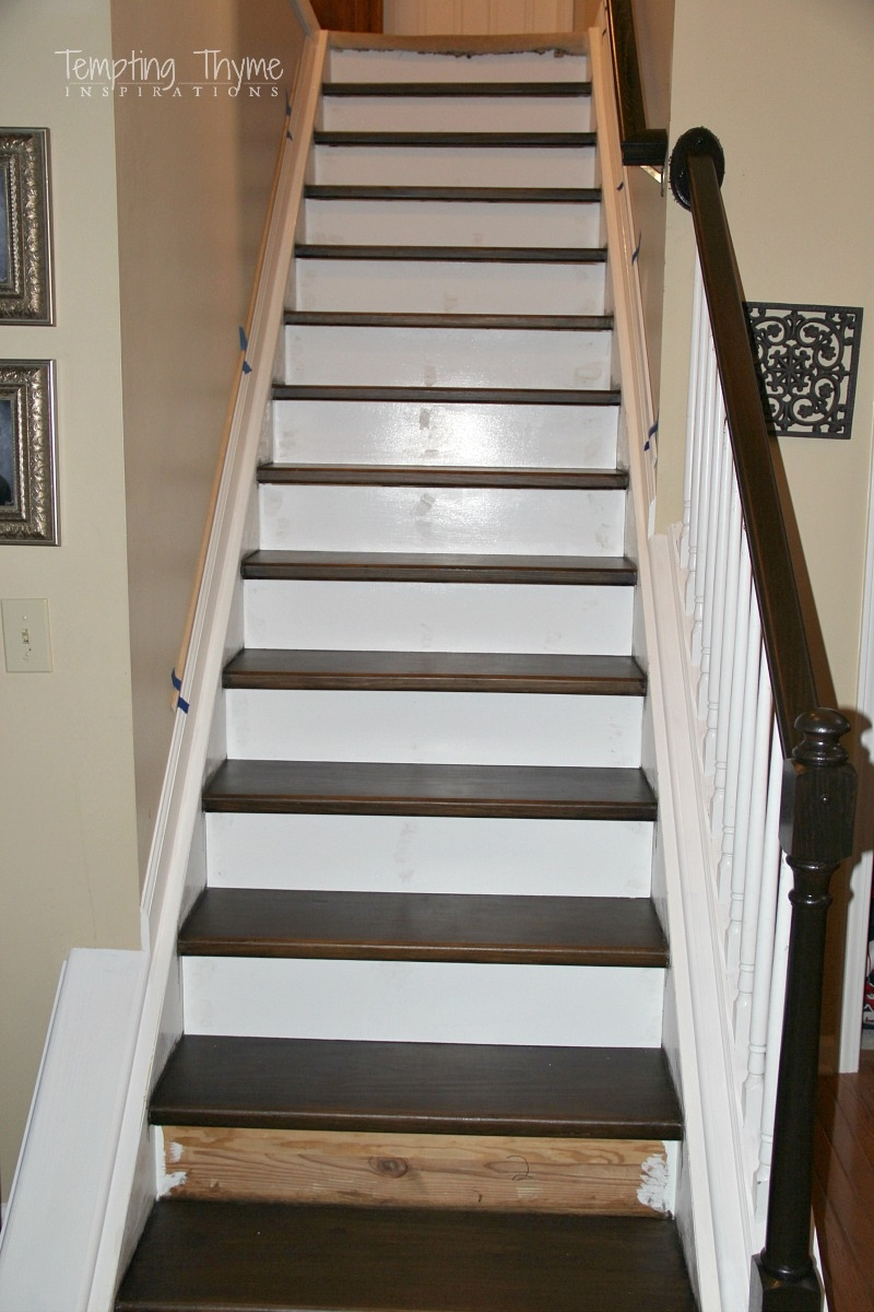Heading On Up Installing New Stair Risers Tempting Thyme | Oak Stairs With White Risers | Natural | Red Oak | Character | Hardwood | Dark Walnut Staircase