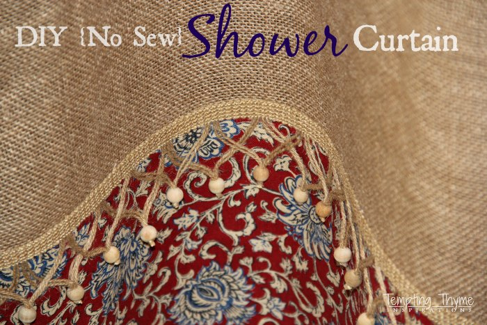 No Sew Burlap Shower Curtain Tempting Thyme