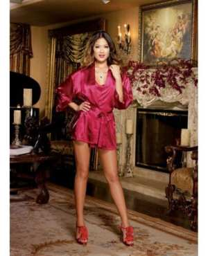 Charmeuse Short Length Kimono w/Matching Chemise Red MD