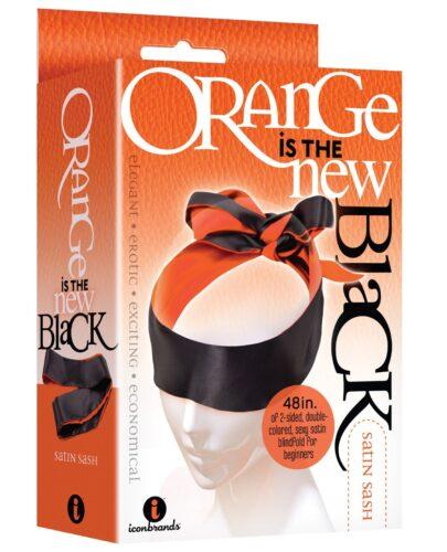The 9's Orange is the New Black Satin Sash Reversible Blindfold