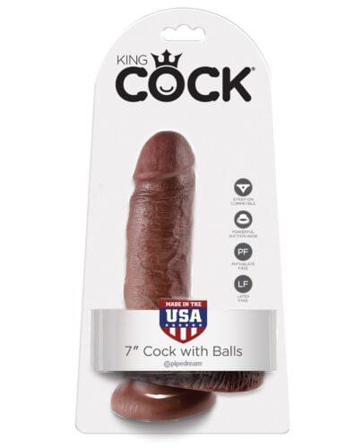 "King Cock 7"" Cock w/Balls - Brown"