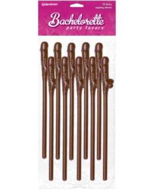 Bachelorette Party Favors Pecker Straws - Brown Pack of 10