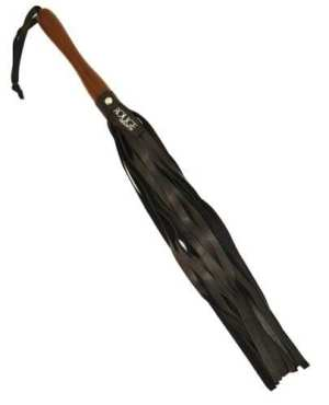 Rouge Leather Flogger w/Wooden Handle - Black