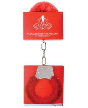 Shots Ouch Furry Pleasure Handcuffs - Red