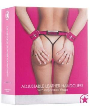 Shots Ouch Adjustable Leather Handcuffs - Pink