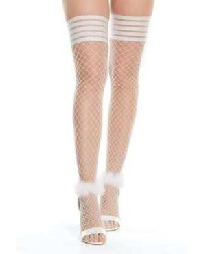 Seemless Stretch Nylon Stay Up Stocking White/Silver O/S