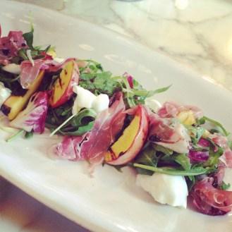 Grilled peach, Proscuitto Di Parma & buffalo bocconcini salad