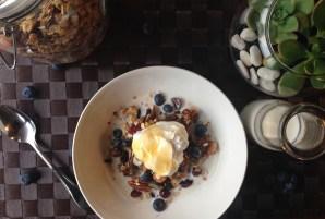 Granola, yogurt & blueberries