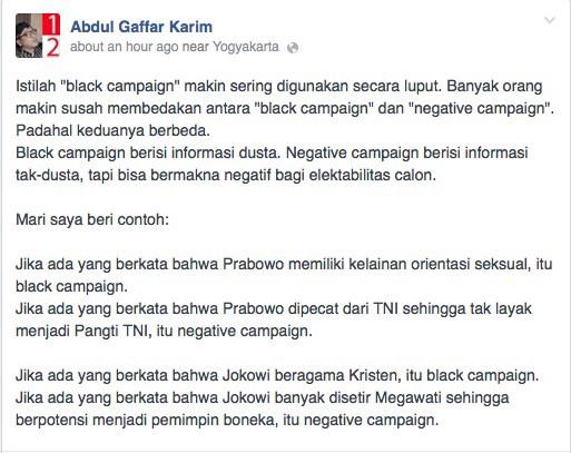 Perbedaan kampanye hitam dan kampanye negatif