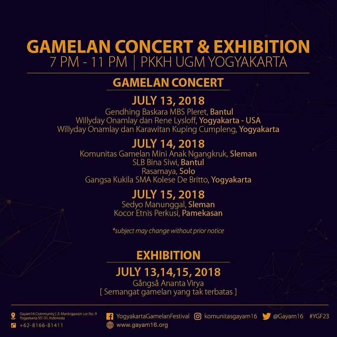Gamelan Concert and Exhibition Yogyakarta Gamelan Festival 2018