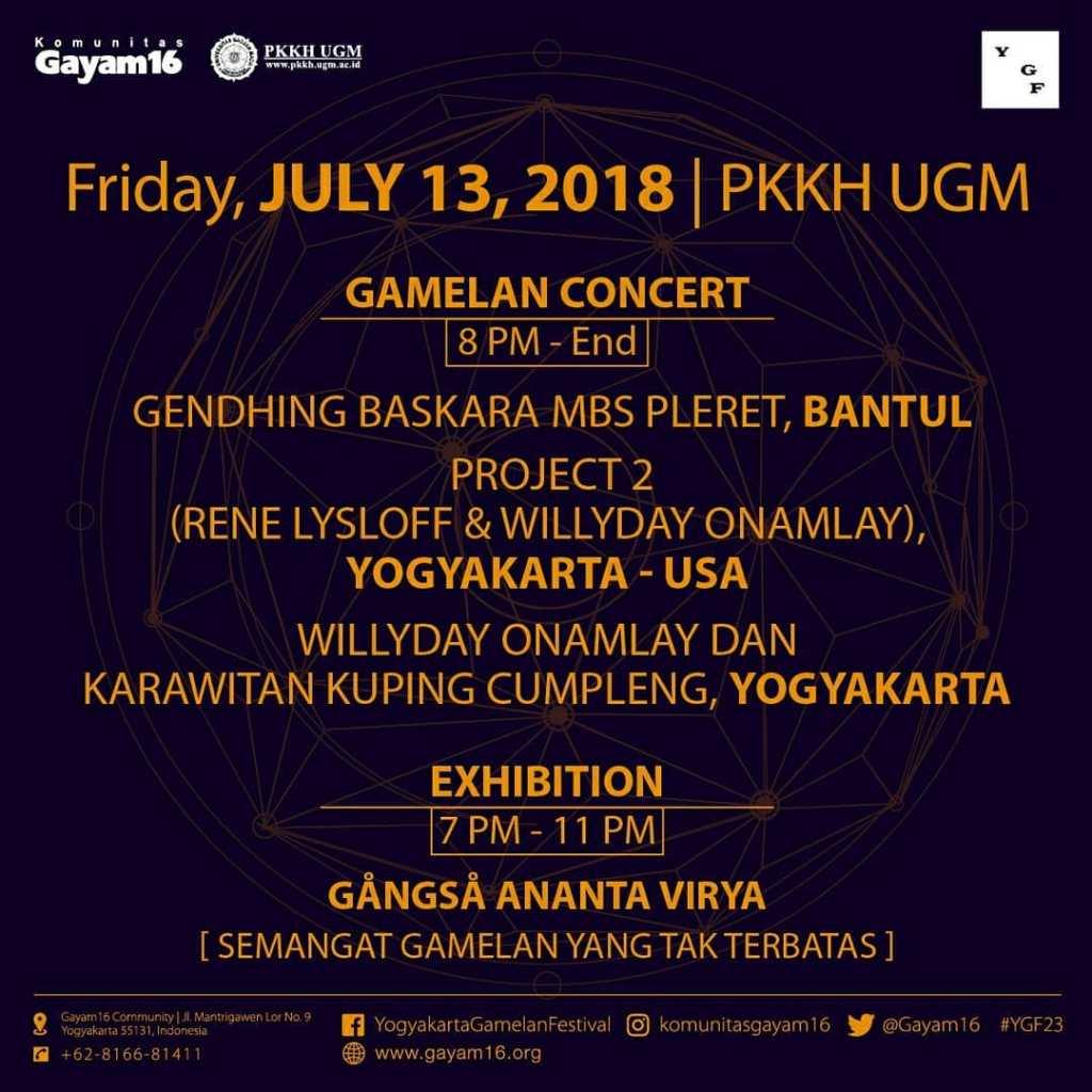 Jadwal Yogyakarta Gamelan Festival ke-23 - 13 Juli 2018