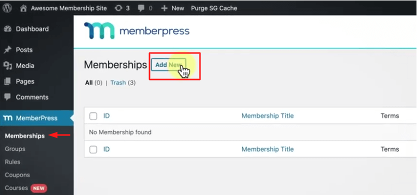 how to add a new membership course in MemberPress